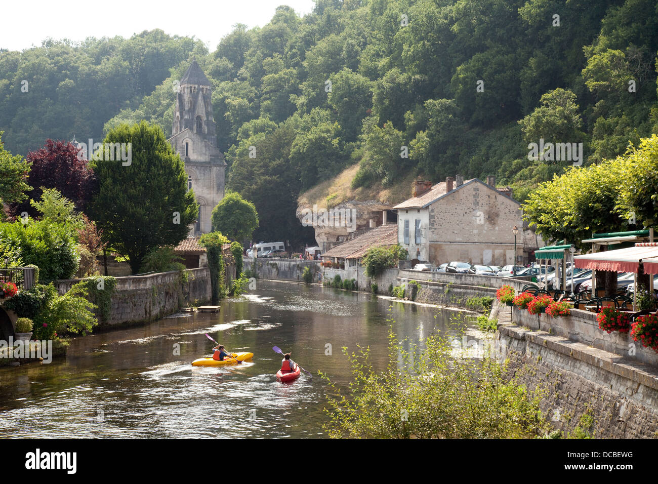 canoeing on the river dronne at brantome in the evening with the 8th stock photo 59260140 alamy. Black Bedroom Furniture Sets. Home Design Ideas