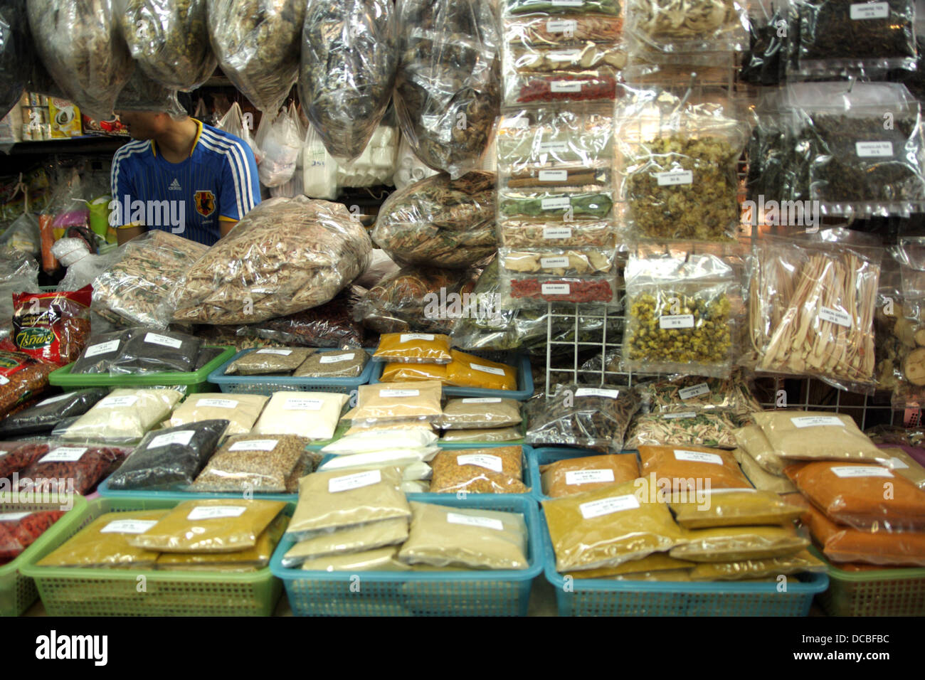 Herbs and ingredient shop at Chatuchak Weekend Market , Bangkok Stock Photo, ...