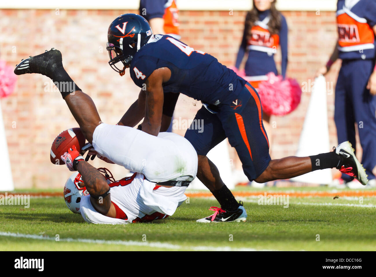 Virginia Cavaliers safety Rodney McLeod 4 breaks up a pass