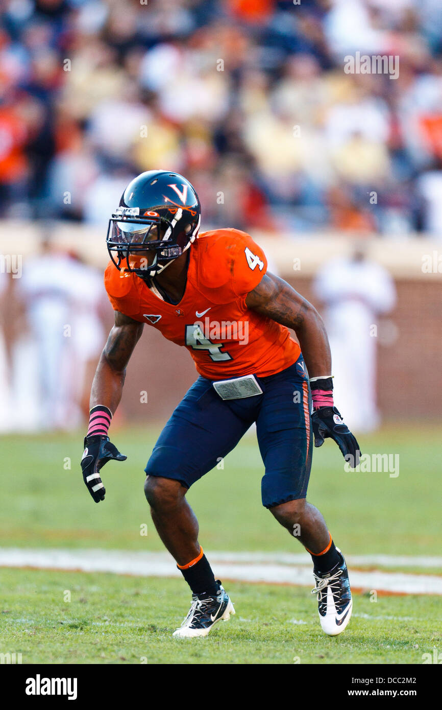 Virginia Cavaliers safety Rodney McLeod 4 lines up for a play
