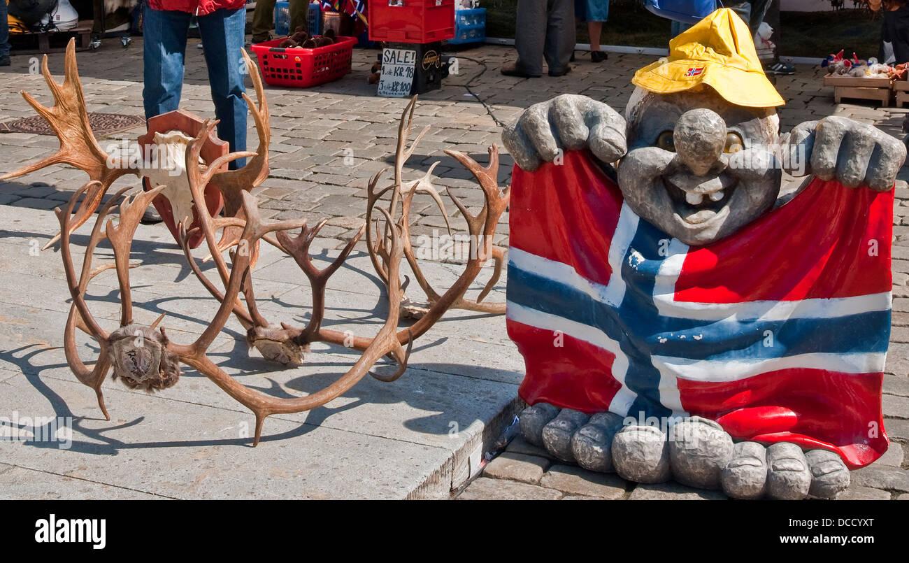 Reindeer Antlers Troll Norwegian Flag Sale Souvenir Stall Bergen Norway