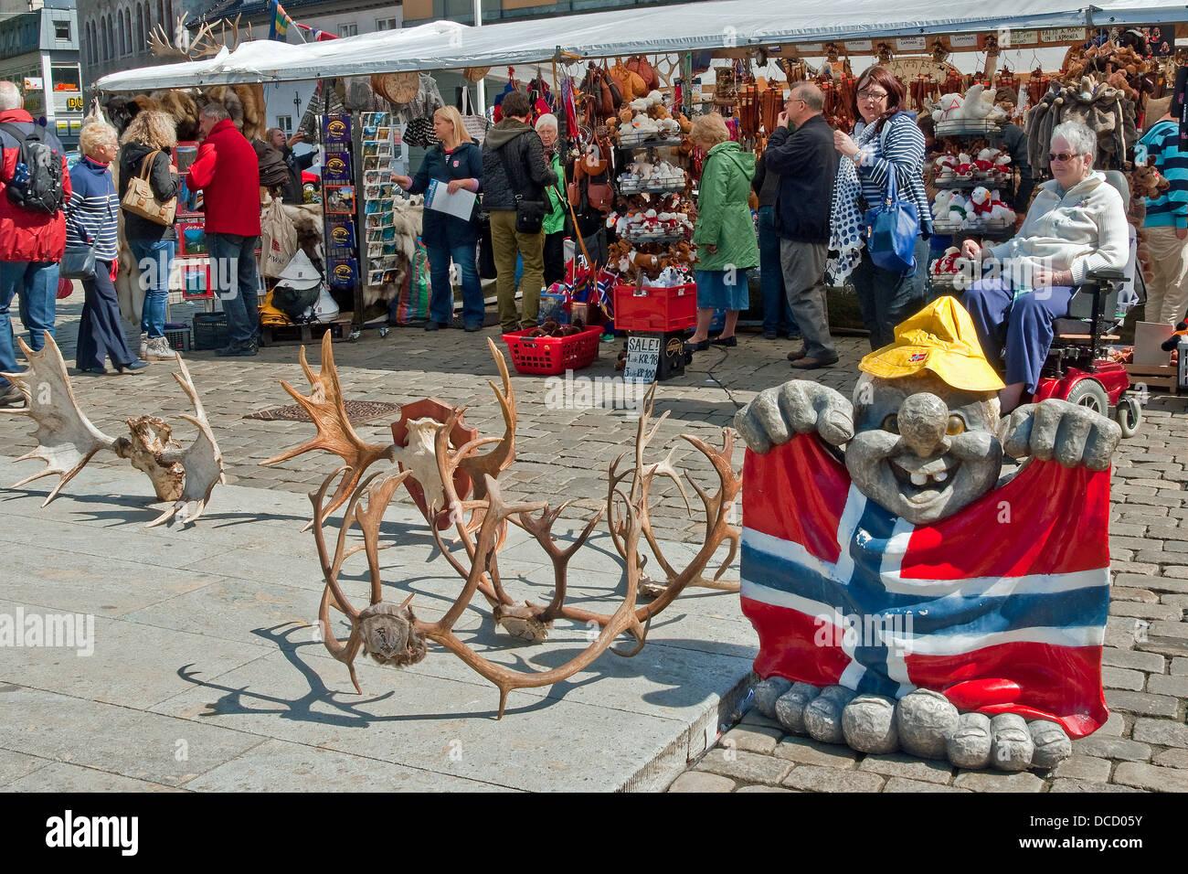 Reindeer Antlers Model Troll Norwegian Flag Sale Souvenir Stall Bergen