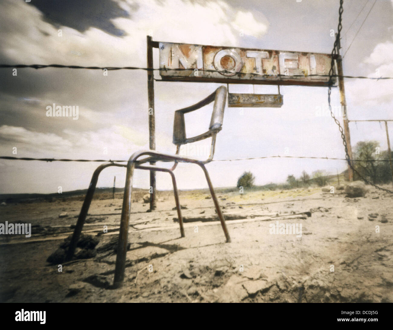 Broken Chair And Motel Sign On Old Route 66 New Mexico USA