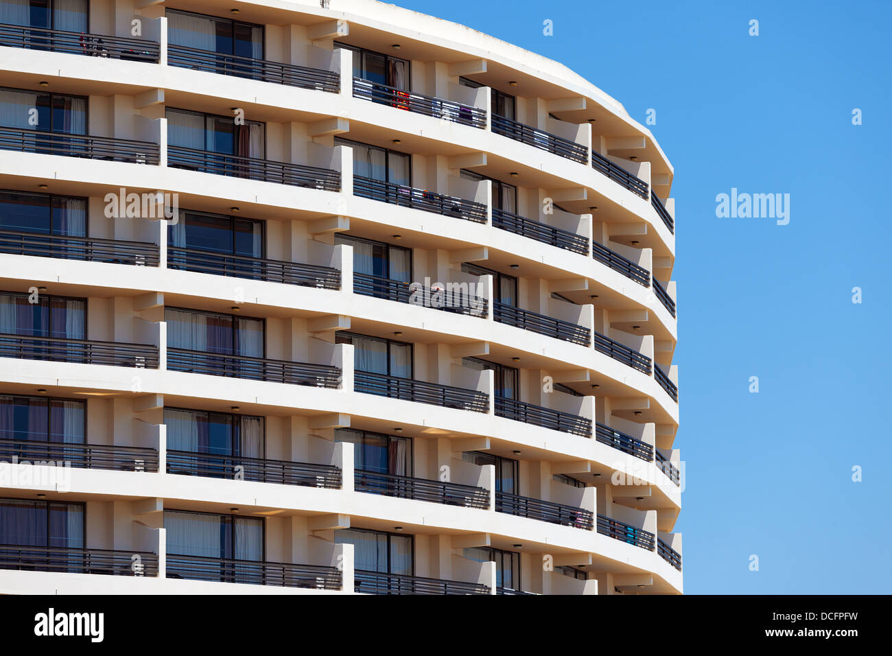 Exterior Of A Modern Apartment Block Or Hotel With A Curved - Modern apartment design exterior