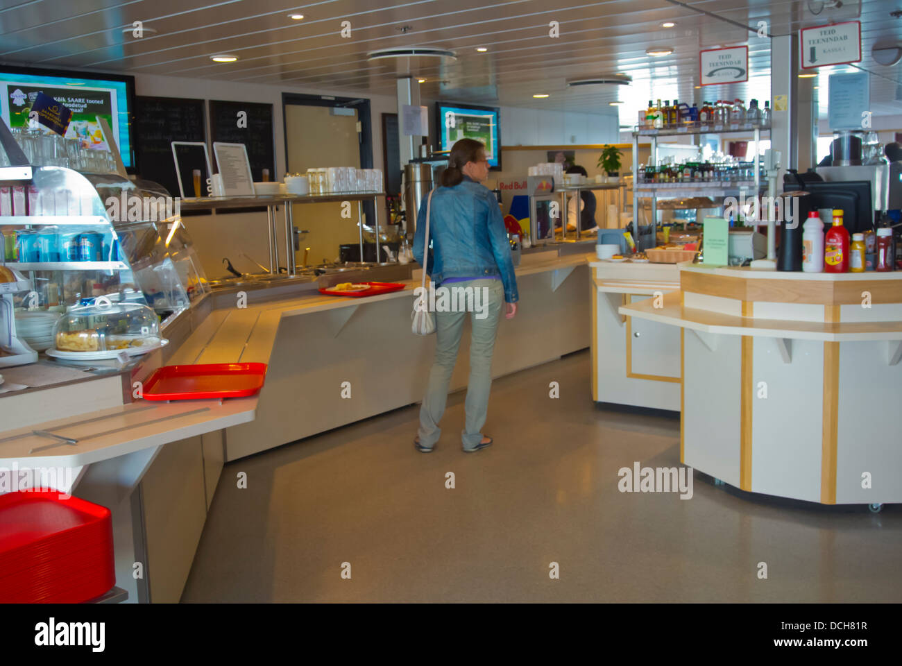 self service cafe restaurant on ferry boat between saaremaa island stock photo royalty free. Black Bedroom Furniture Sets. Home Design Ideas