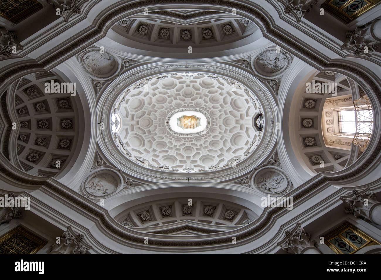 interior of dome, Church of San Carlo alle Quattro Fontane ...