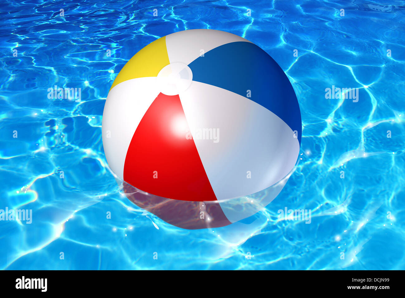 Pool Water With Beach Ball pool fun concept with an inflatable plastic beach ball floating in