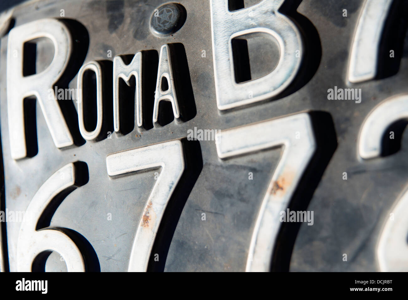Old roman car registration plate Stock Photo: 59420476 - Alamy