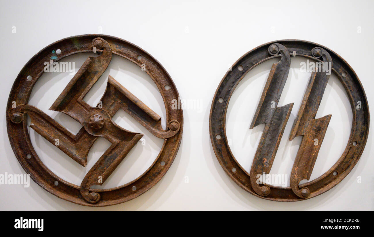 Hitler symbols stock photos hitler symbols stock images alamy ss and swastika symbols in the ss museum at wewelsburg castle wewelsburg germany biocorpaavc Image collections