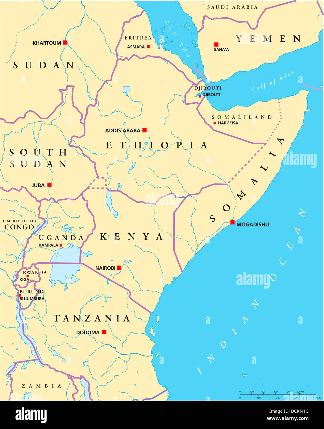 East Africa Political Map Stock Photo Royalty Free Image - Map of eastern africa