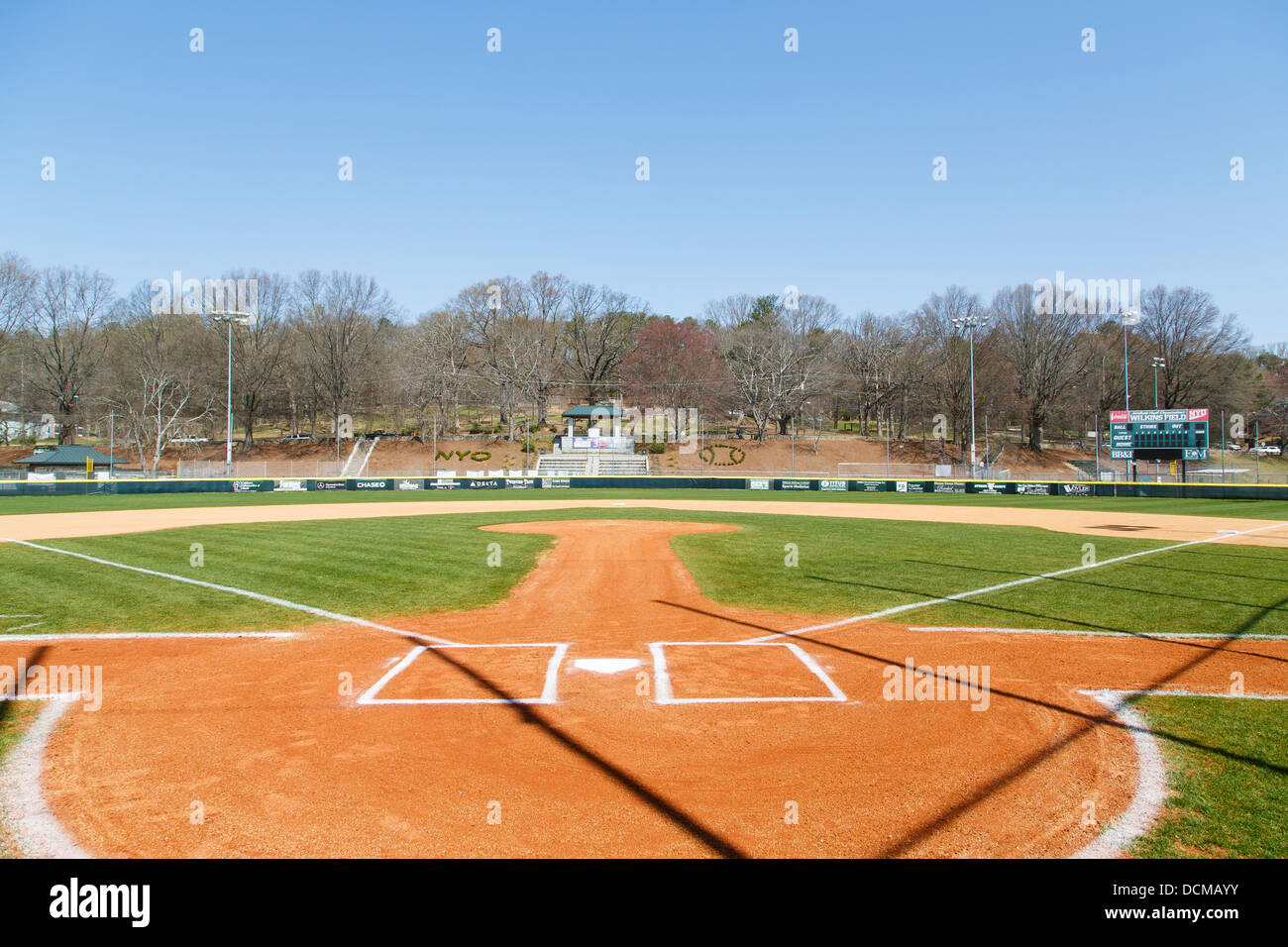 a view from behind home plate past the pitchers mound into the