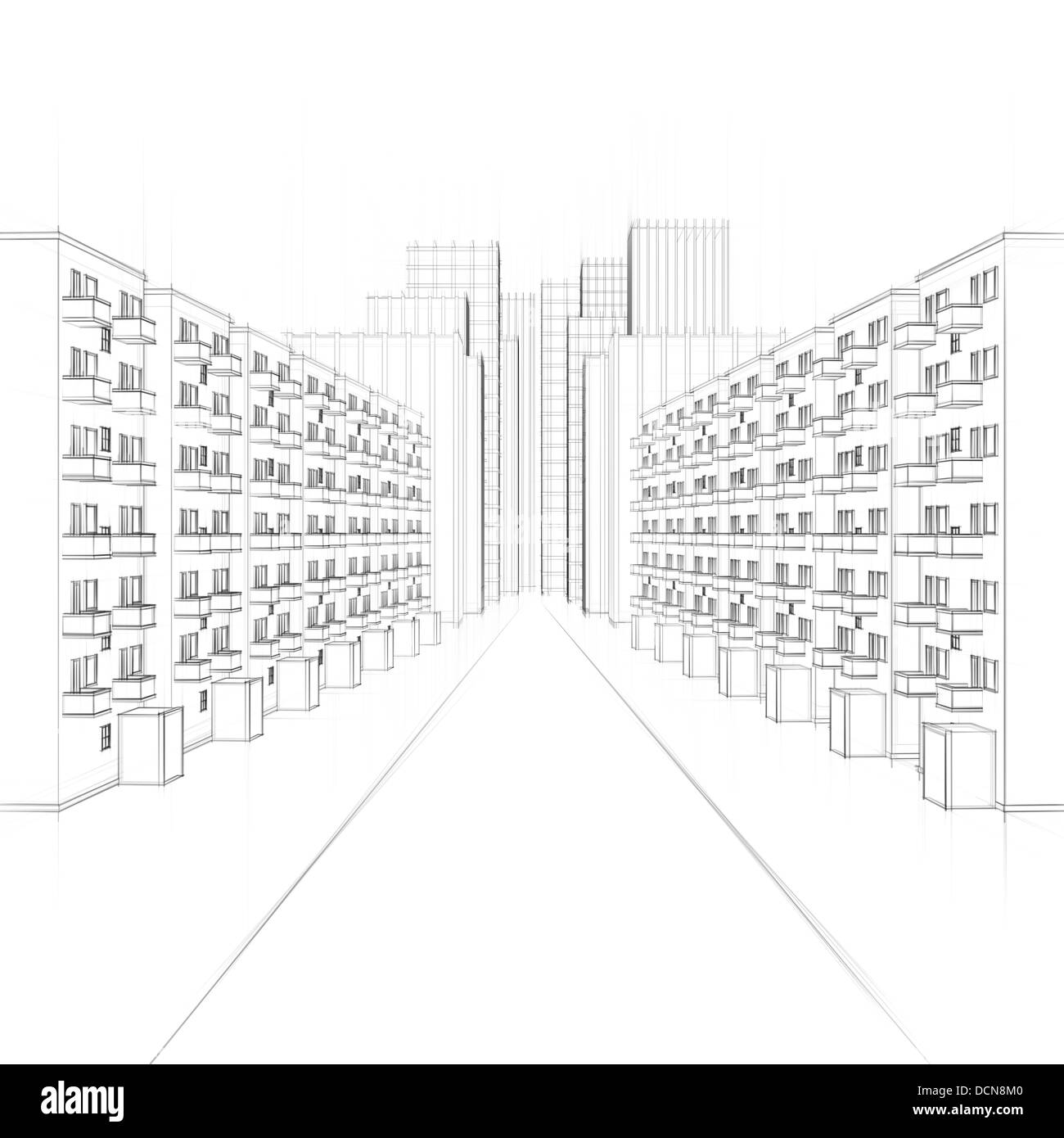 line drawing of an urban street with apartment houses stock photo