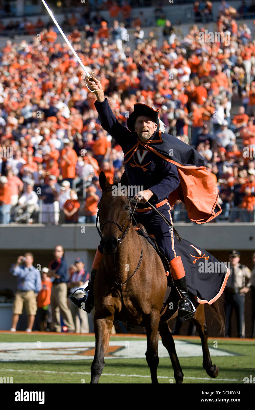The Virginia Cavalier Mascot On His Horse Sabre The