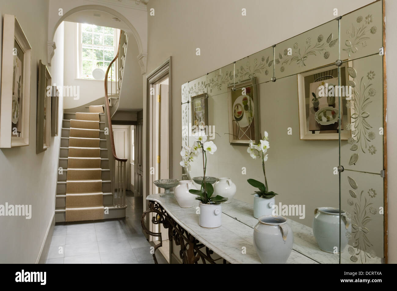 Decorative Mirror And Antique French Wrought Iron Console