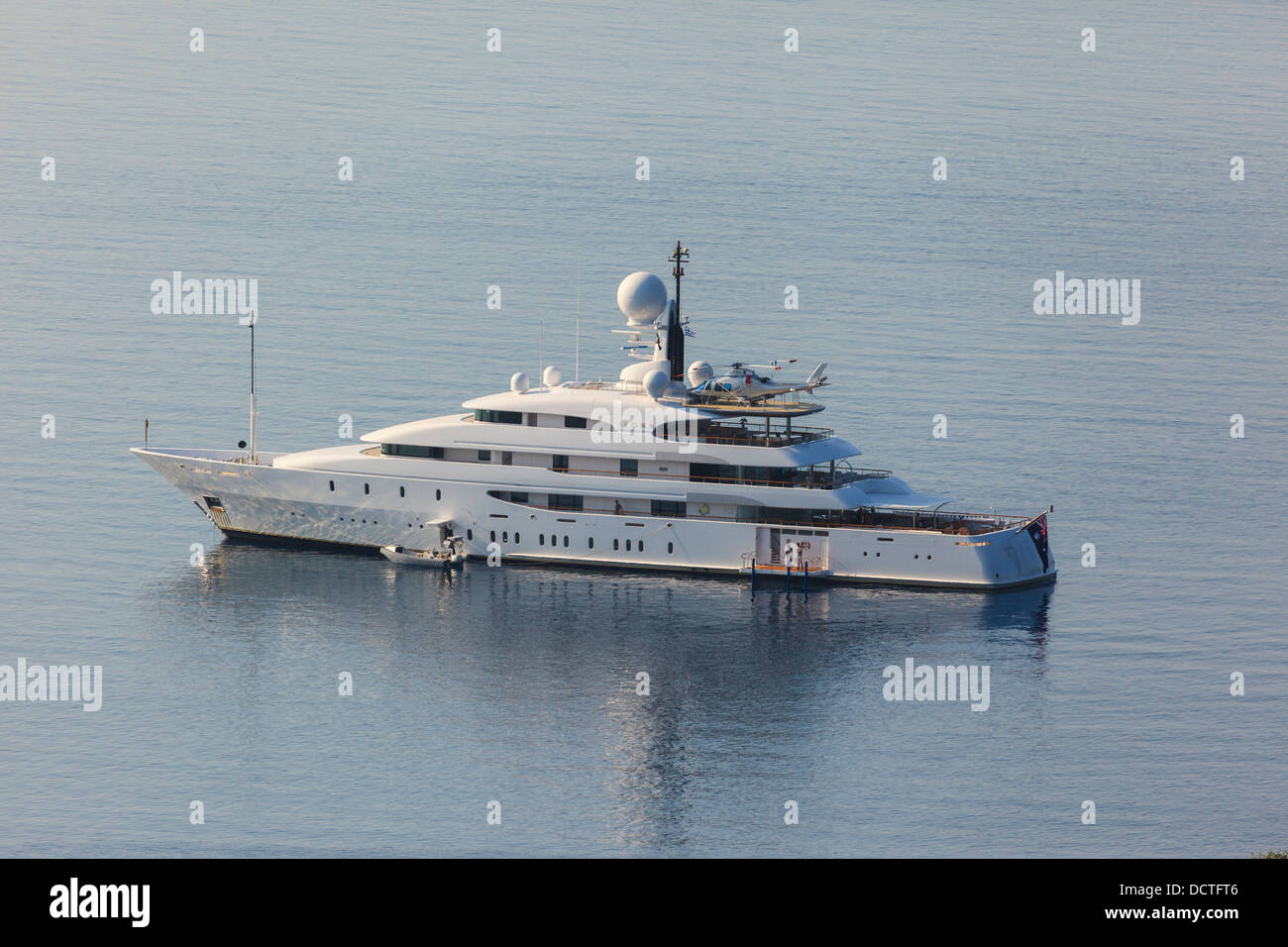 The Mega Yacht Ilona With Its Onboard Helicopter In Corfu