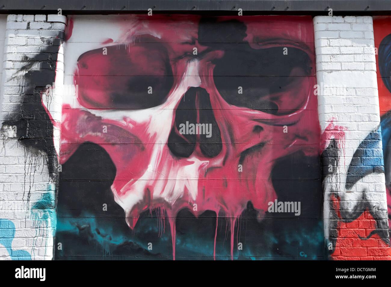 Graffiti wall uk - Stock Photo Dripping Skull Graffiti Wall Art In Belfast Northern Ireland Uk