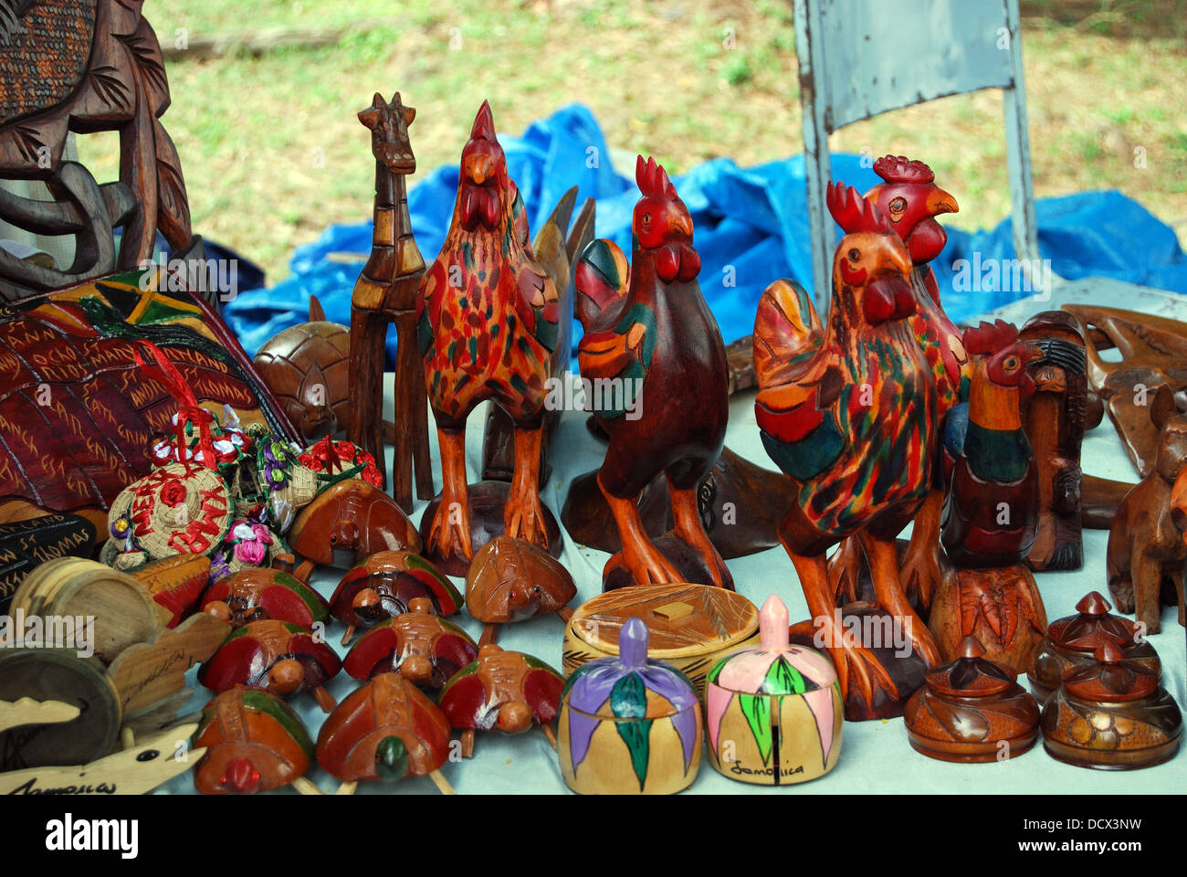 Carved Wooden Souvenirs For Sale On The Quayside Montego