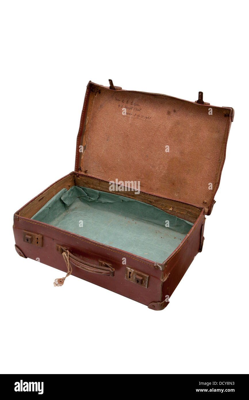 cut out old fashioned luggage leather suitcase case with lid open ...