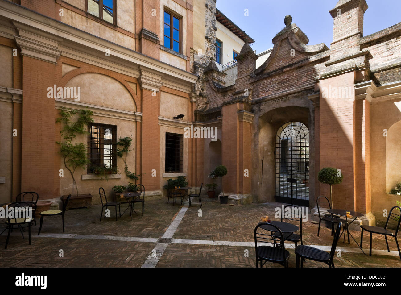 Detail of inner courtyard of Italian Renaissance palazzo, with ...
