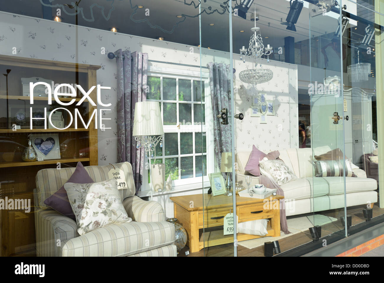 Shop window at Next Home and Garden store  London Road  Camberley  Surrey   England  United Kingdom. Shop window at Next Home and Garden store  London Road  Camberley