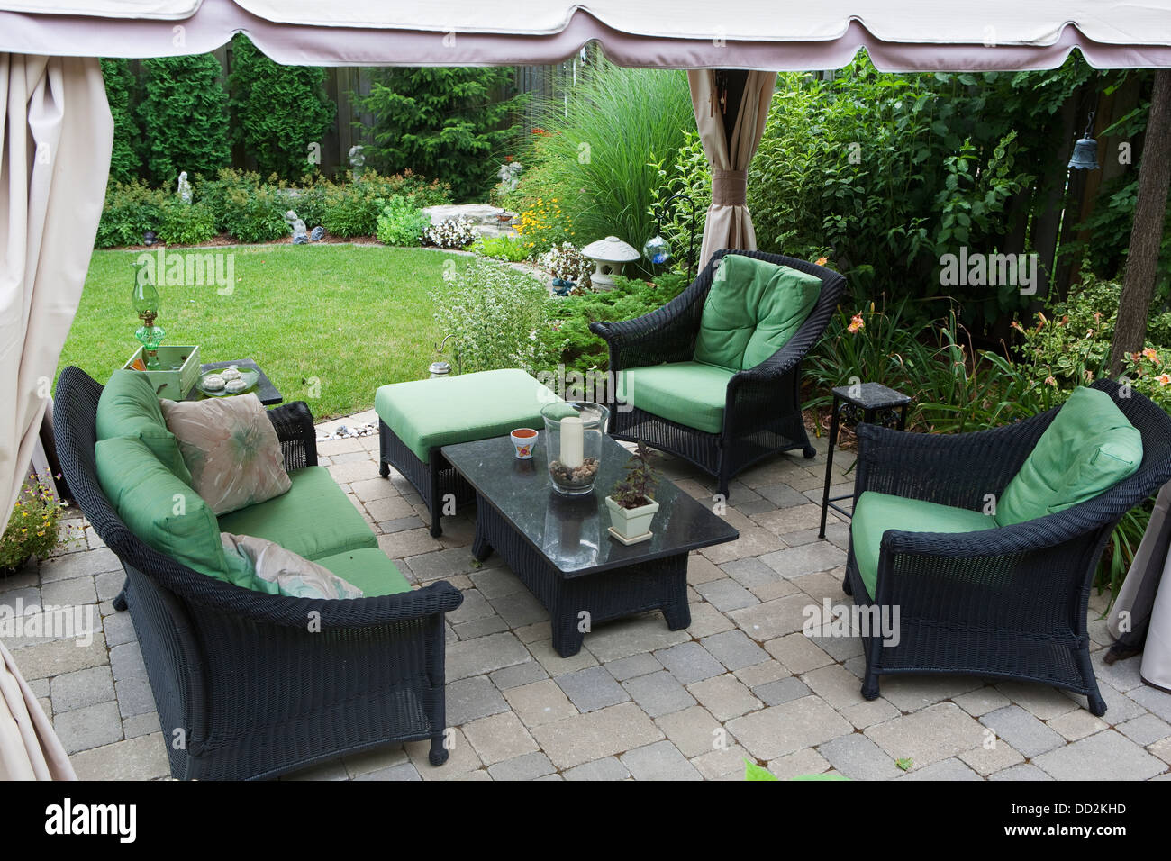 Furniture stores in burlington ontario canada - Covered Patio Furniture On Stone Patio In A Backyard Burlington Ontario Canada