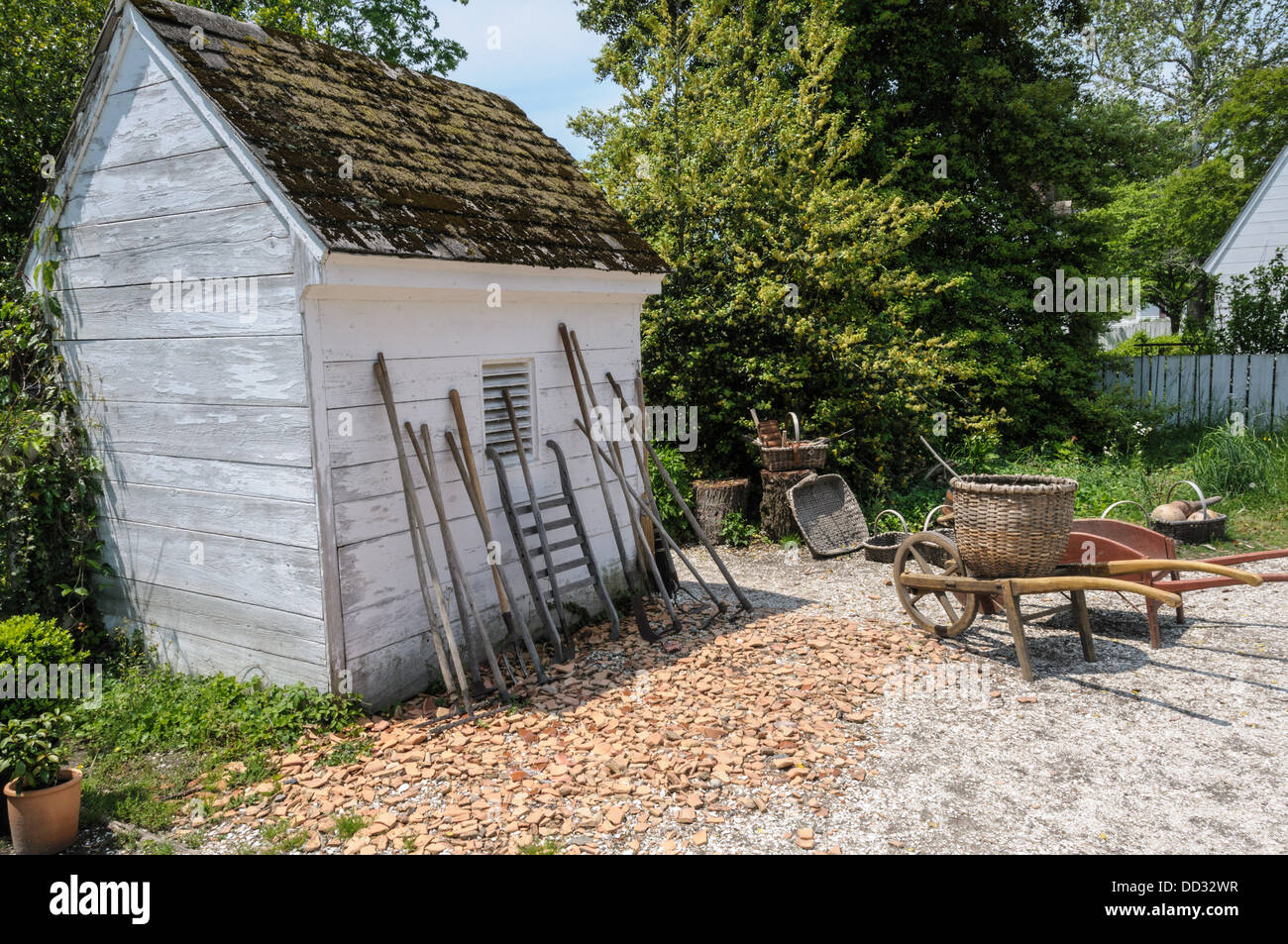 tool shed colonial garden and nursery colonial williamsburg virginia stock image