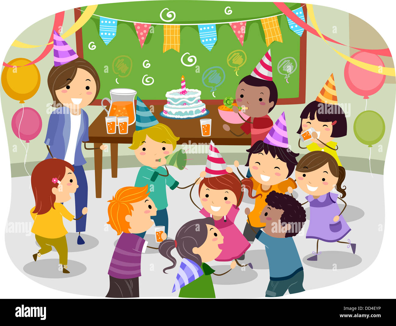 Illustration Of Stickman Kids Having A Birthday Party At School