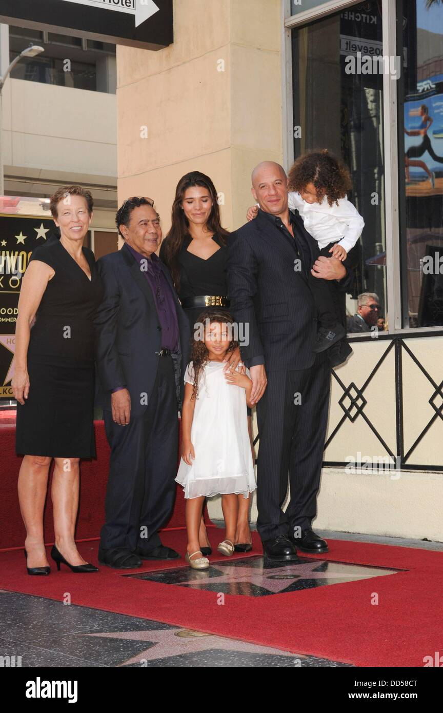 Vin diesel mother delora vincent father irving vincent paloma jimenez daughter hania riley son at the induction ceremony for star on the hollywood walk