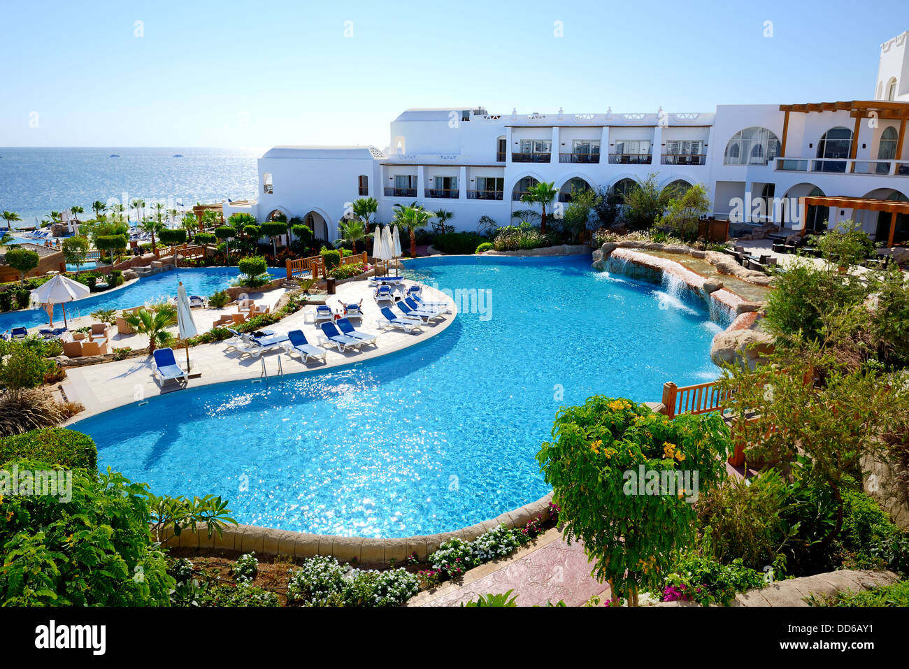 The Beach With Swimming Pools At Luxury Hotel Sharm El Sheikh Egypt Stock Photo Royalty Free