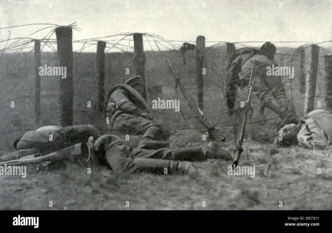 Russian ww soldiers who died entangled in battlefield