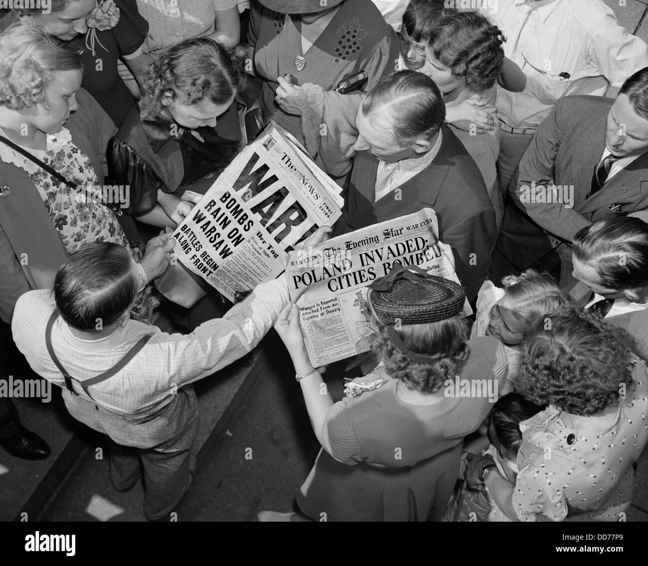 Sept. 1, 1939 headlines about the German invasion of Poland Stock ...