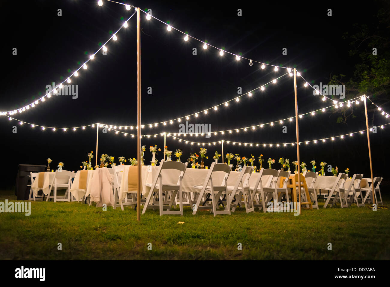 Usa Texas Outdoor Wedding Reception With Party Lights At