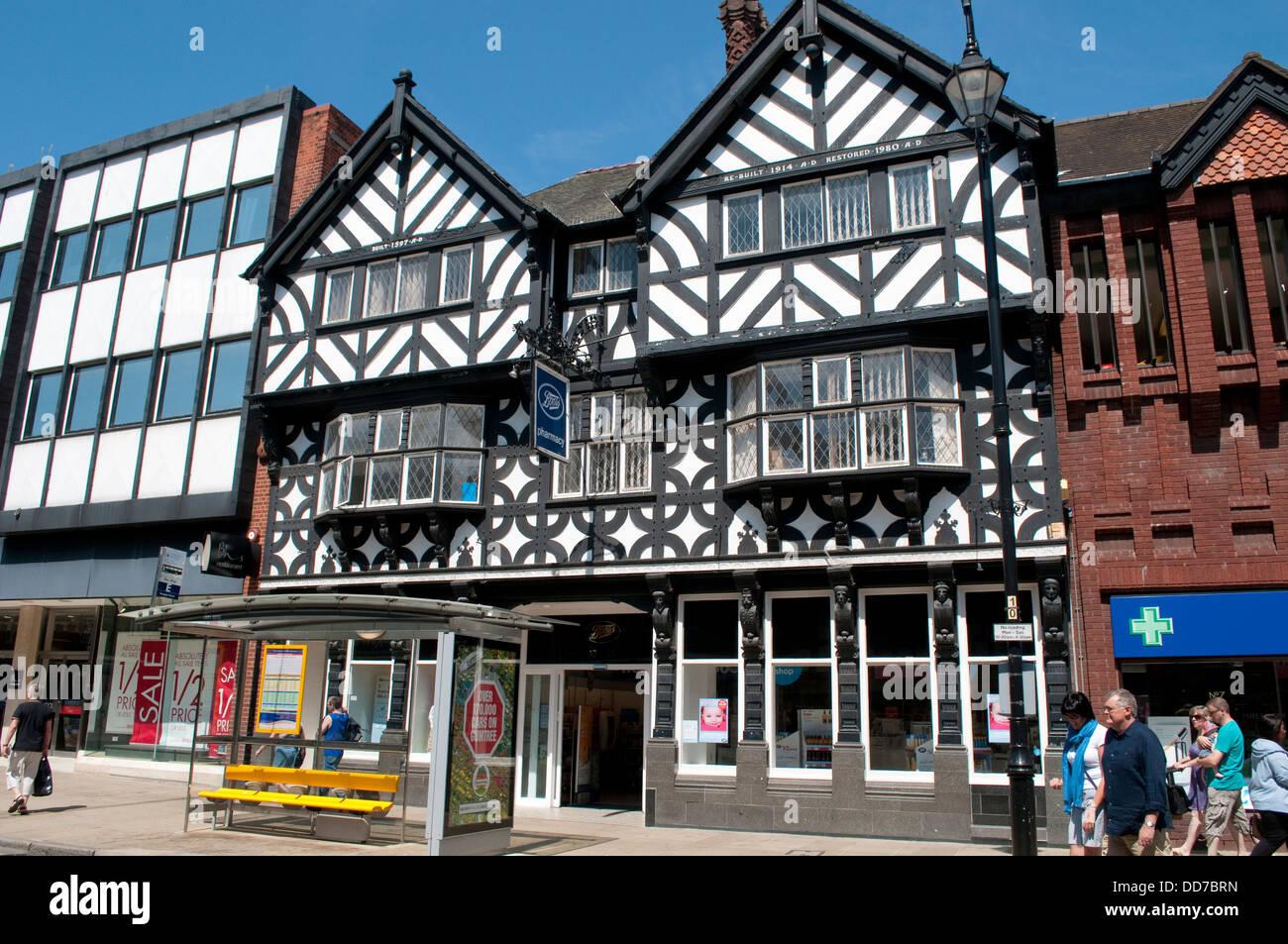 Tudor Architecture boots shop, mock tudor architecture, foregate street, chester