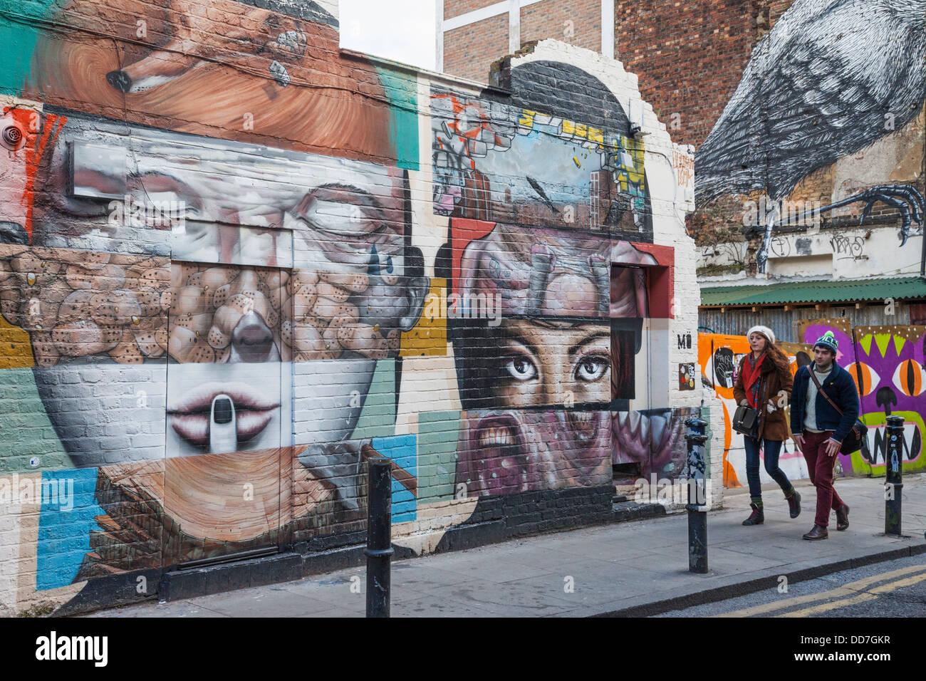 england london shoreditch brick lane wall mural stock photo england london shoreditch brick lane wall mural