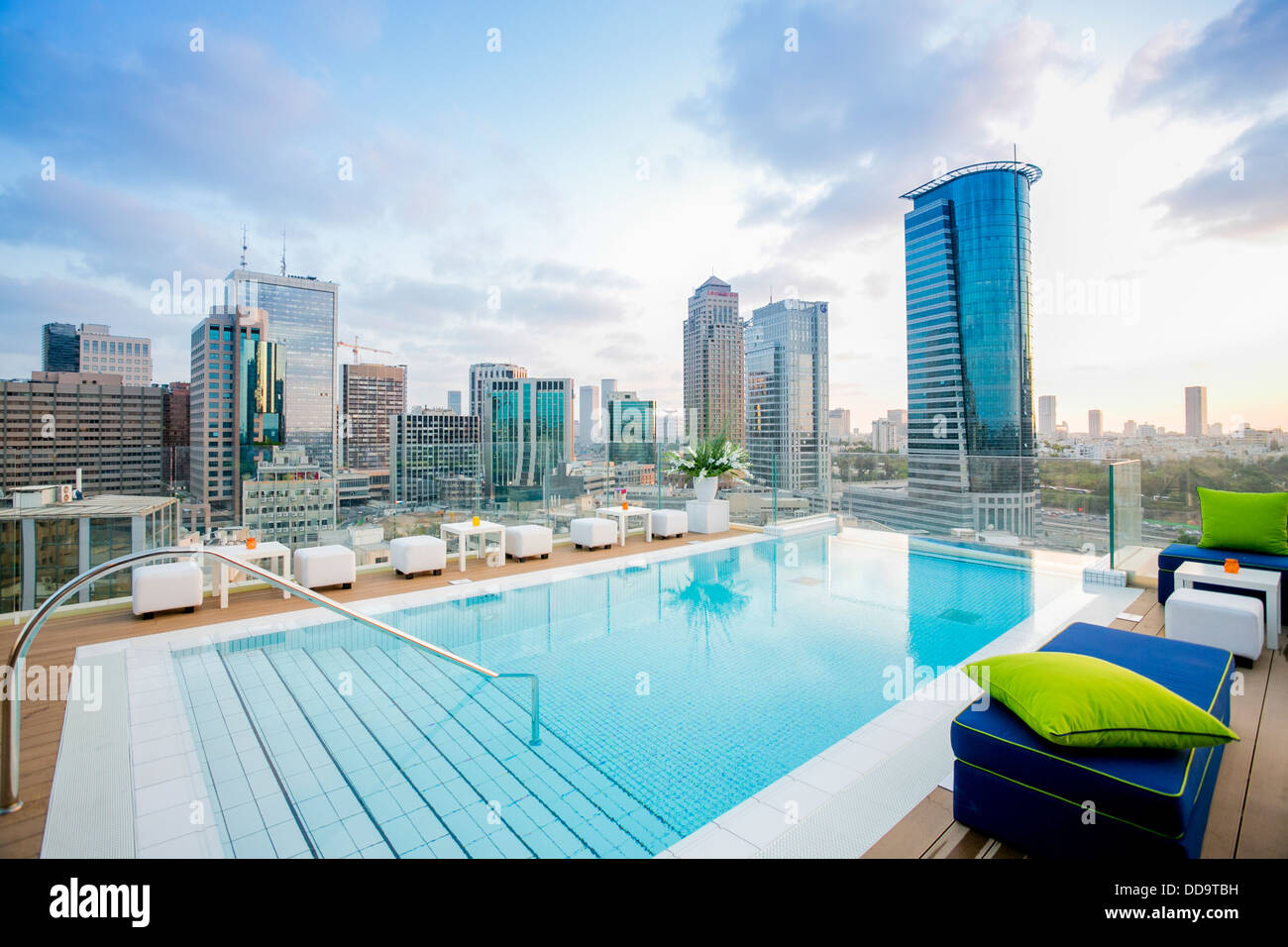 Rooftop swimming pool with a skyline view of tel aviv and for Rooftop swimming pool