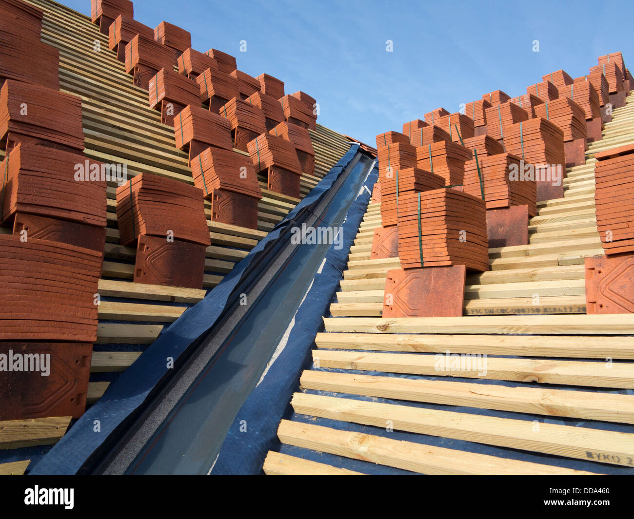 Self Building House Constructing Roof Clay Tiles Stacked