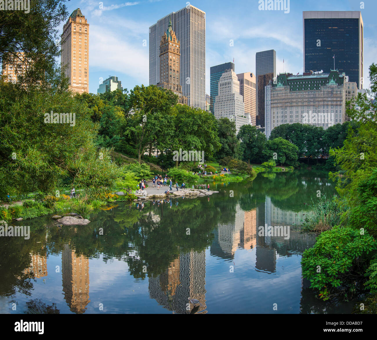 Central Park New York: Central Park Lagoon In New York City Stock Photo, Royalty