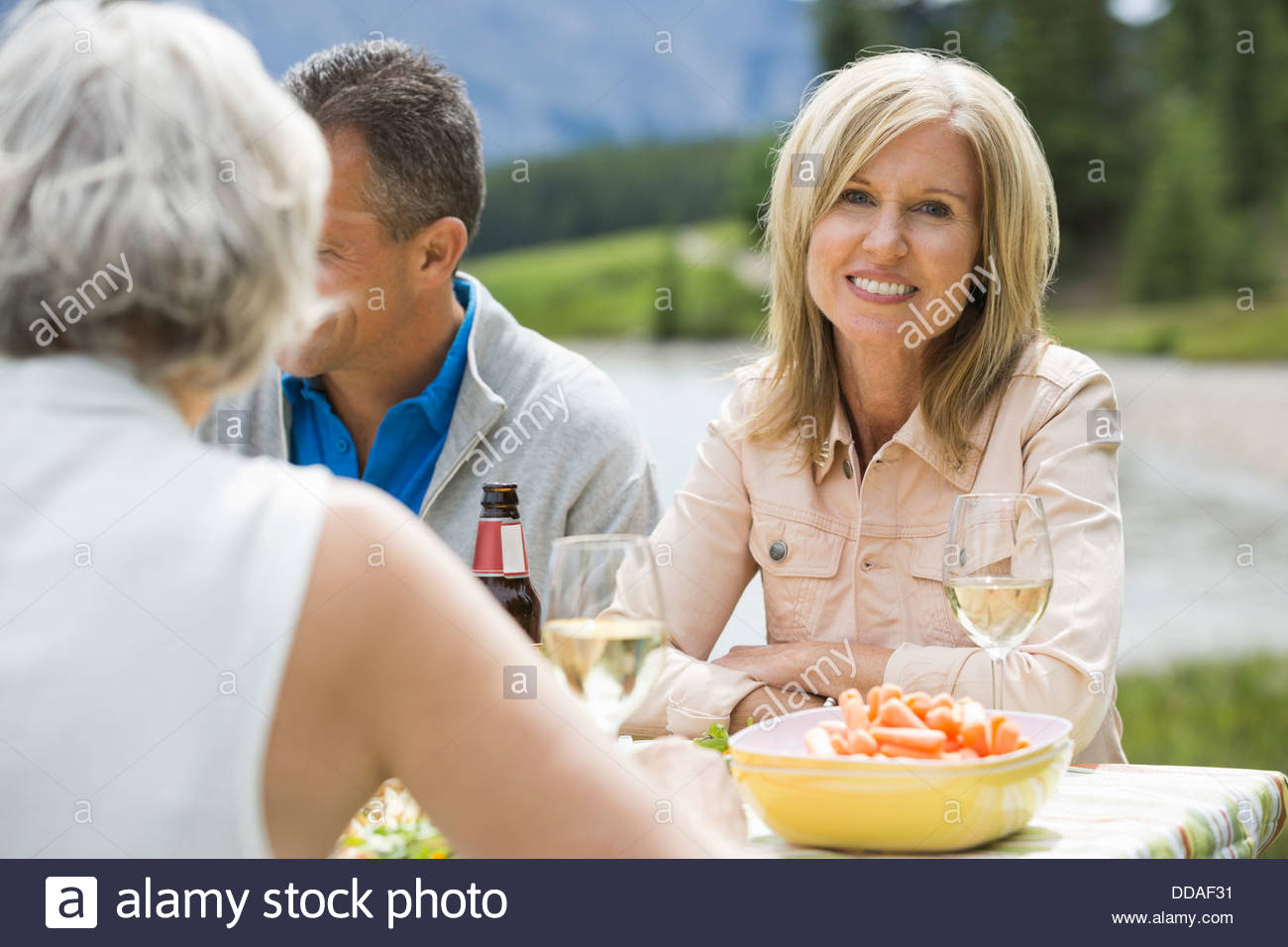 mature woman enjoying an outdoor picnic with friends stock photo