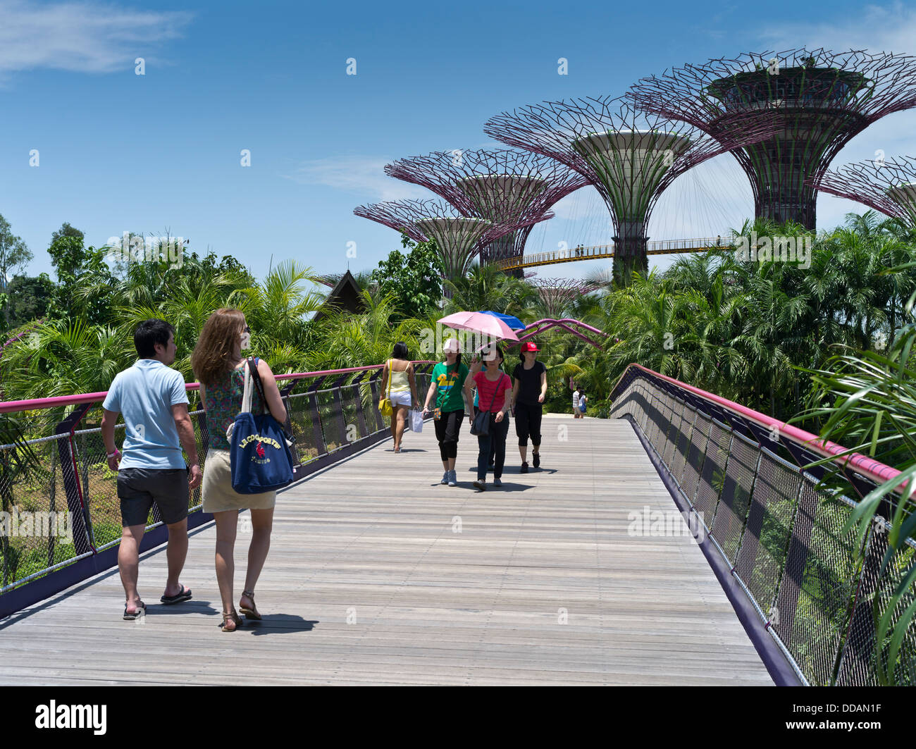 stock photo dh supertree grove garden by the bay singapore supertrees vertical gardens people walking entrance bridge - Garden By The Bay Entrance