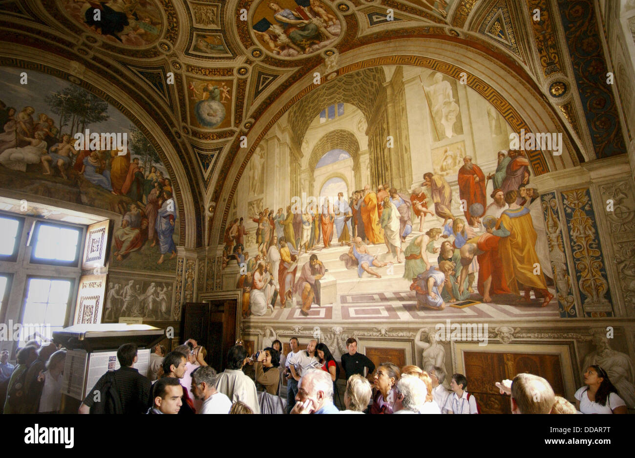 raphael the school of athens Raphael exemplifies high renaissance painting with his grand renderings of the madonna in landscape settings the figurative scenes with which he decorated the vatican his celebrated depiction of plato, aristotle, and other sages in his school of athens (1510-12) fresco for the vatican reflects the inspiration he drew from.