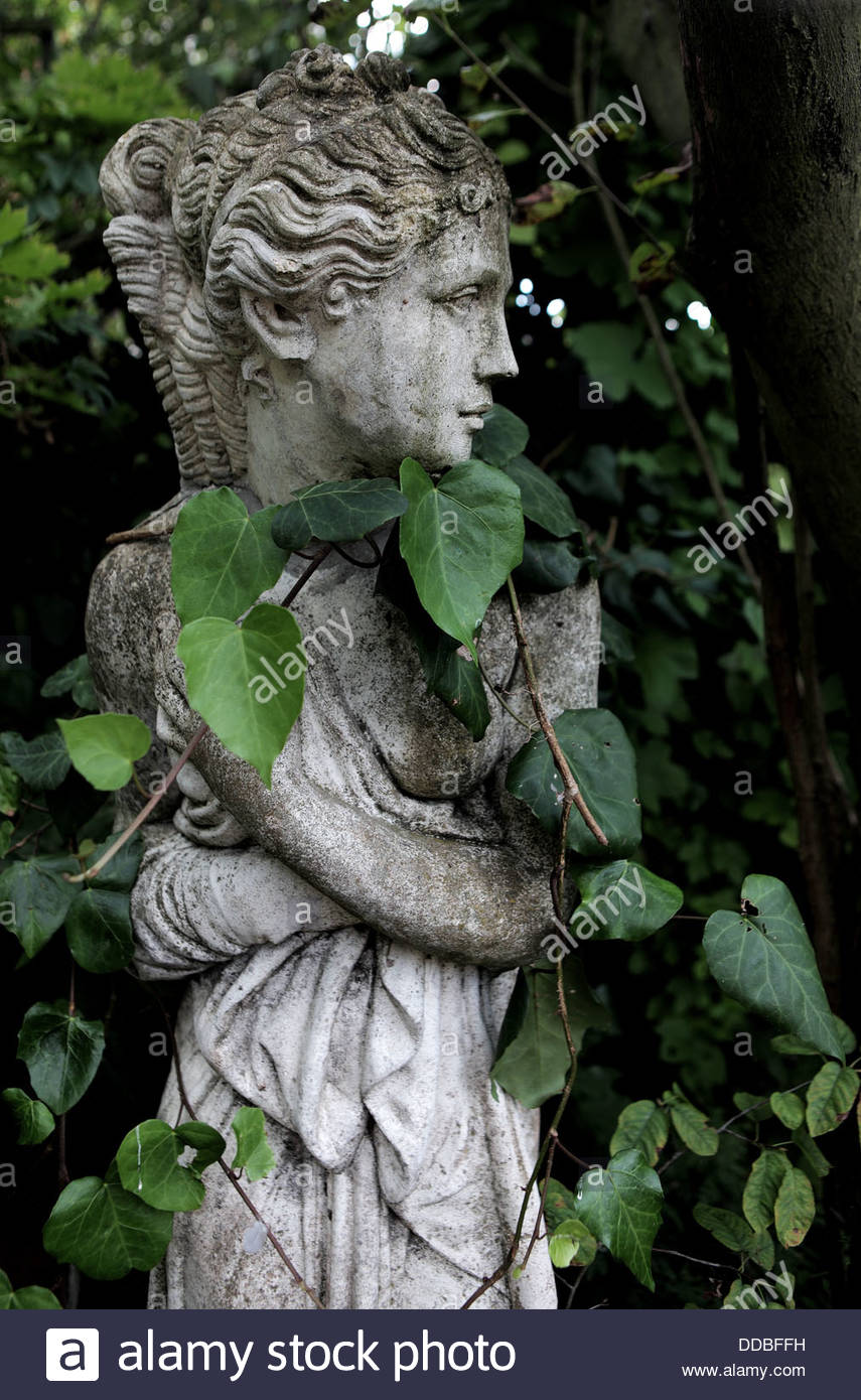 Garden Statue In English Garden With Entwined Ivy