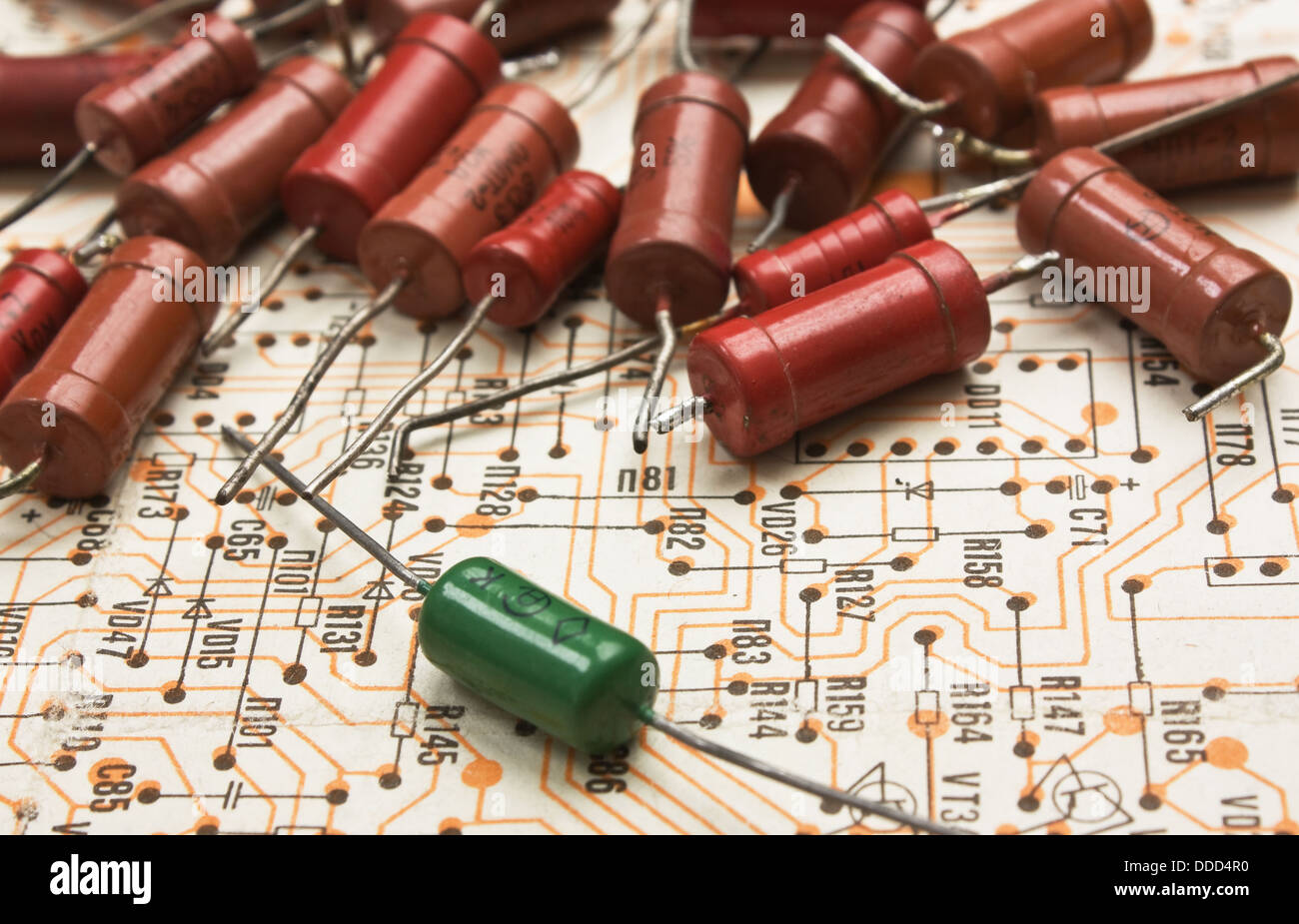 old electronic components lie on the wiring diagram stock photo old electronic components lie on the wiring diagram