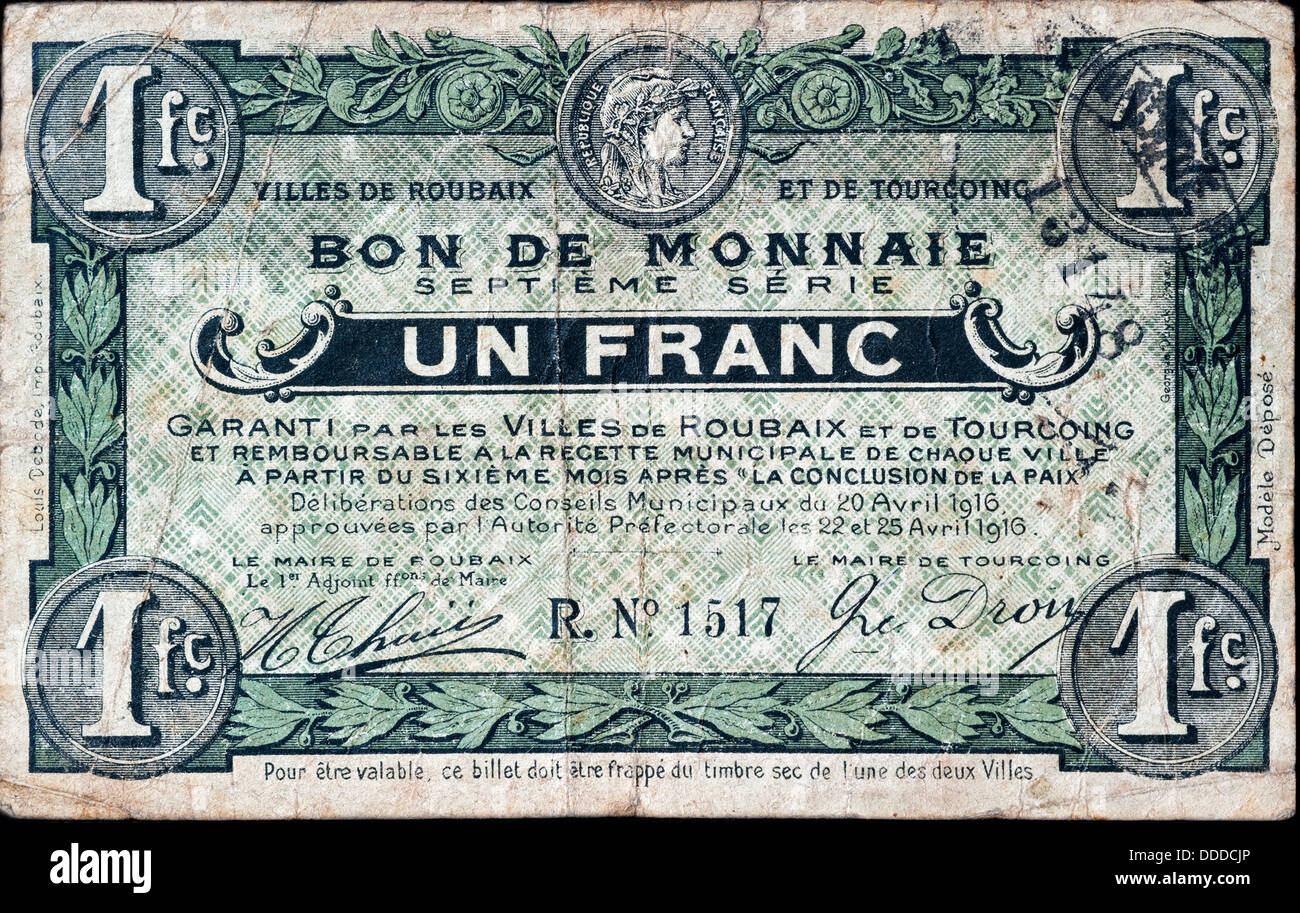 French banknote bon de monnaie un franc of the cities for Piscine de roubaix