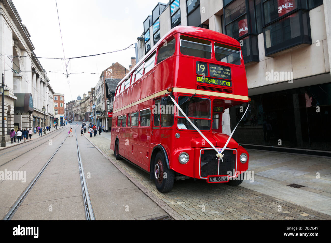 Red London Bus Double Decker Old Antique Classic Used For Wedding On Street Of Nottingham City Centre Nottinghamshire UK England