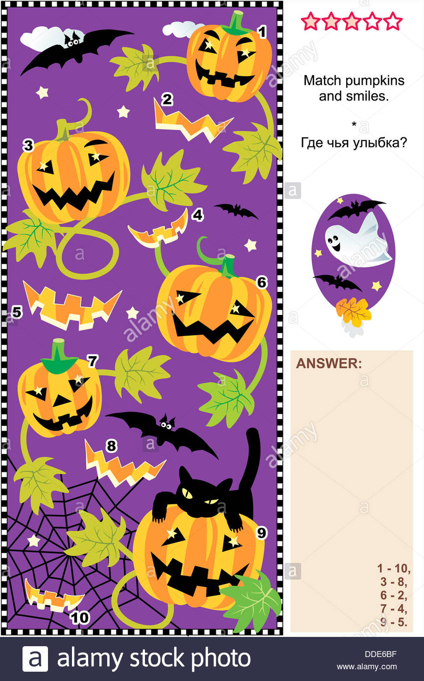 Halloween themed visual puzzle: Help every pumpkin to find it's ...