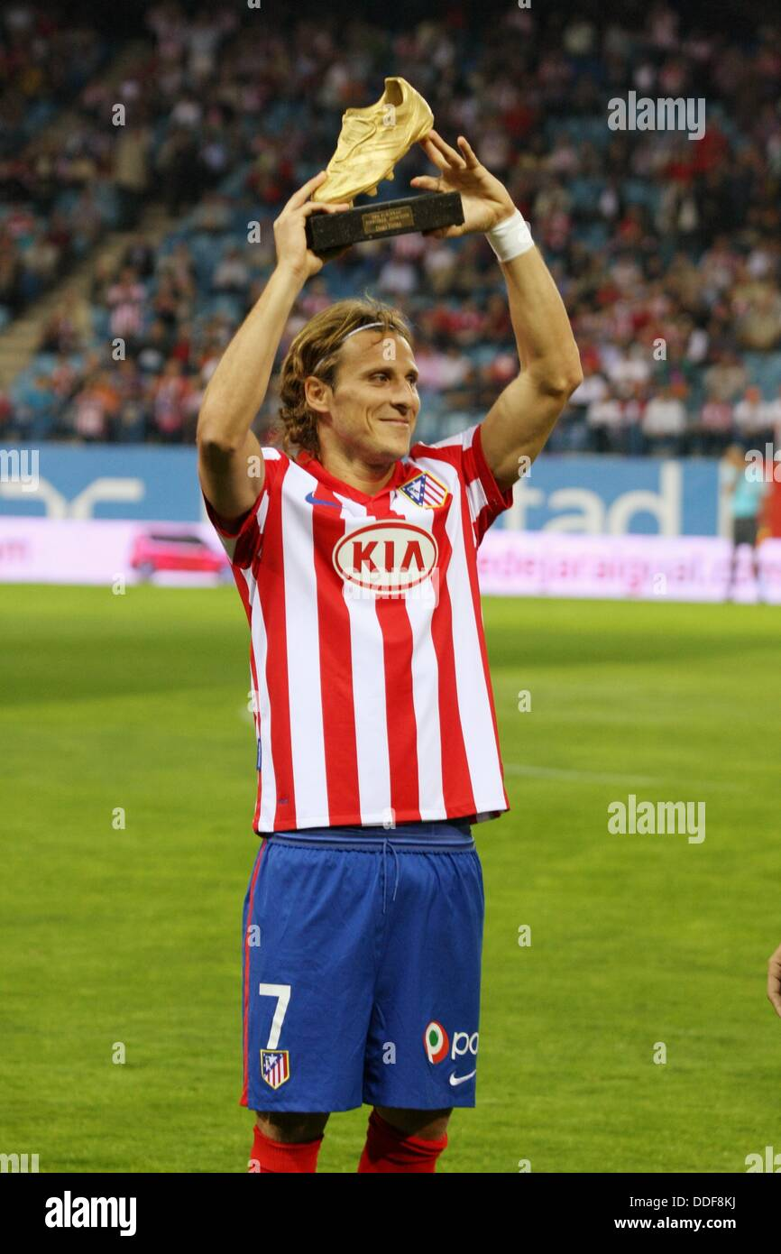 Diego Forlan football player of the Atletico de Madrid offers to