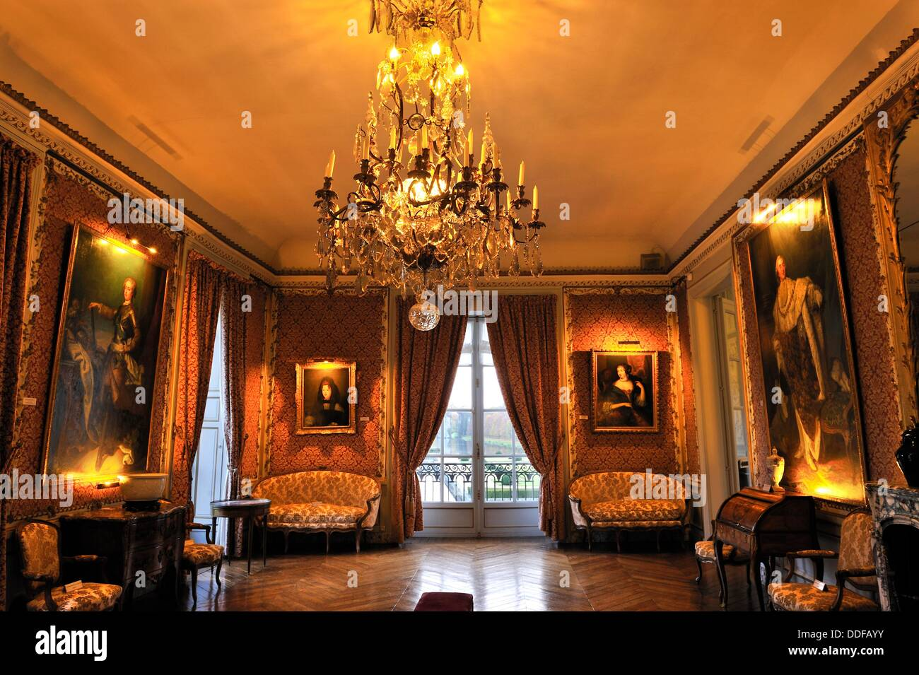 the grand salon chateau de maintenon eure et loir department stock photo royalty free image. Black Bedroom Furniture Sets. Home Design Ideas