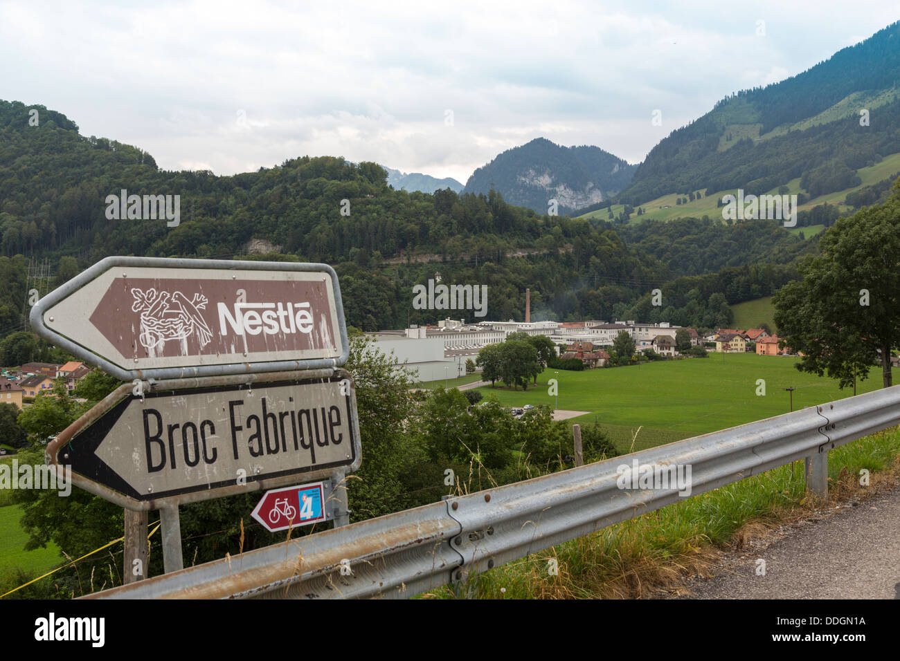 view of and signposts to Nestle Cailler chocolate factory, Broc ...