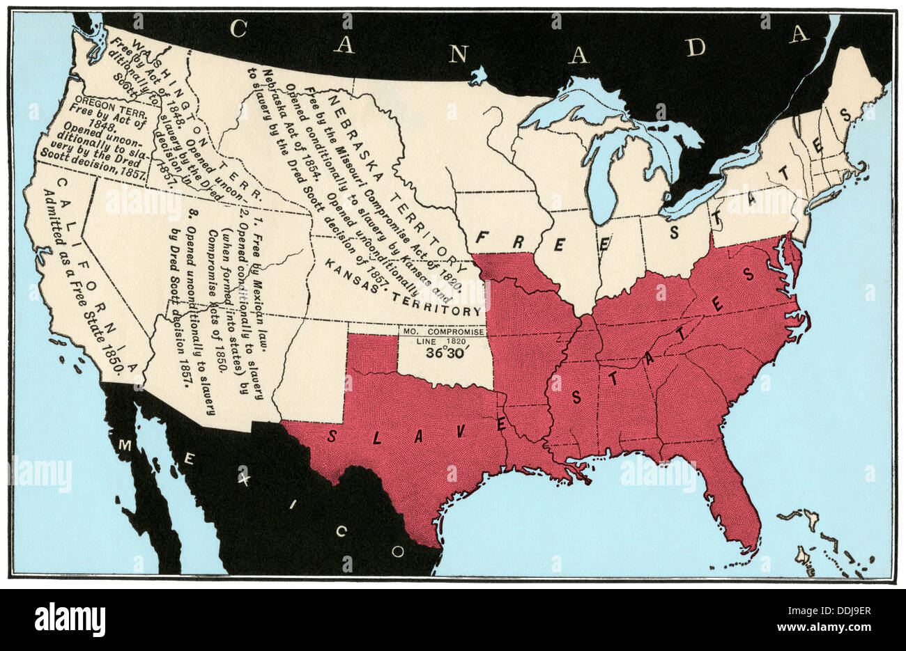 US Map Of Freedom And Slavery In Stock Photo Royalty Free - Map of slavery in the us