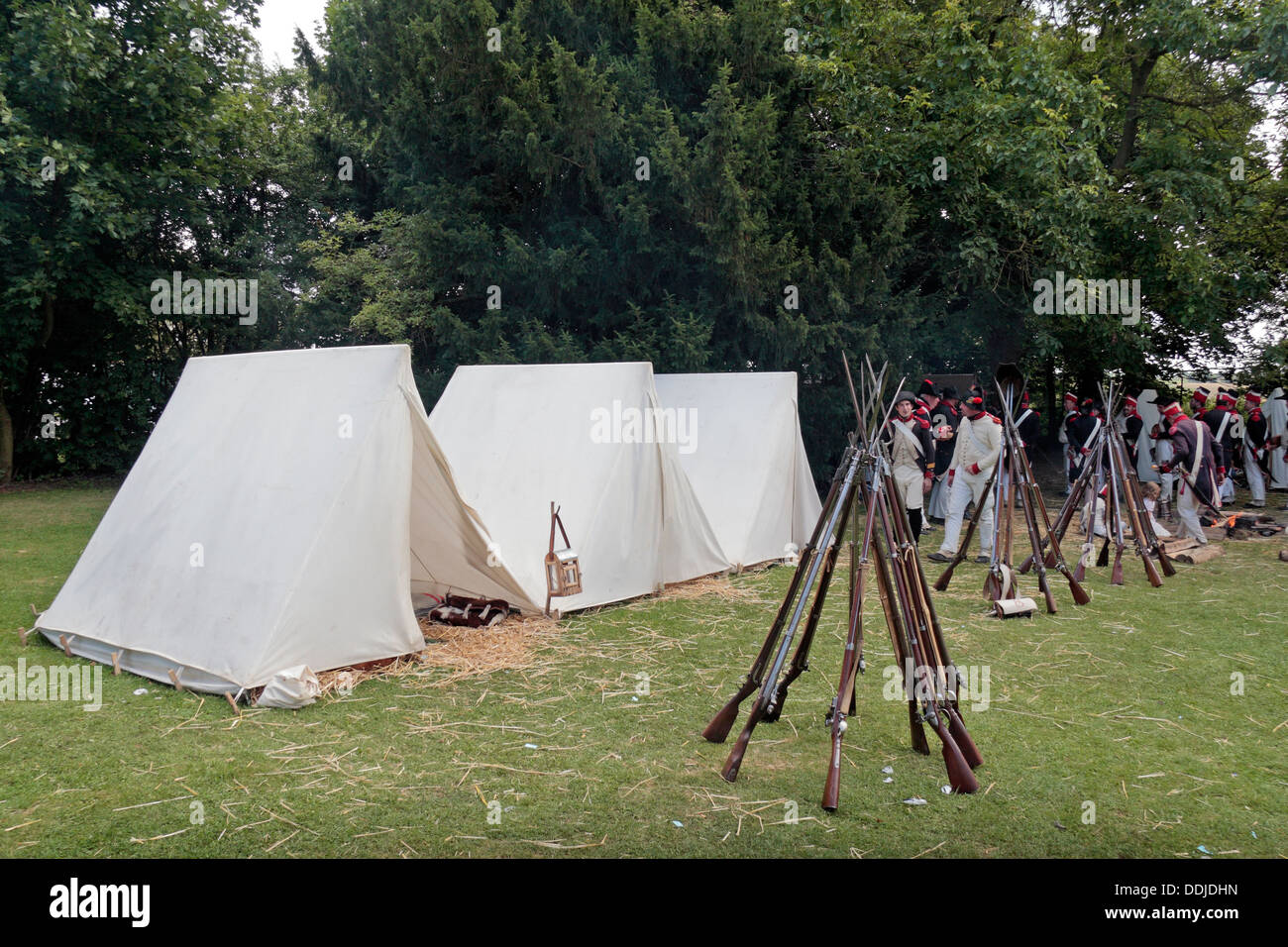 Rifle stacks in a French re-enactment group tent c& close to the Butte du Lion on the Waterloo battlefield Belgium & Rifle stacks in a French re-enactment group tent camp close to the ...